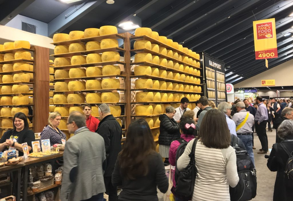 Giant cheese wheels at the 2017 Winter Fancy Food Show